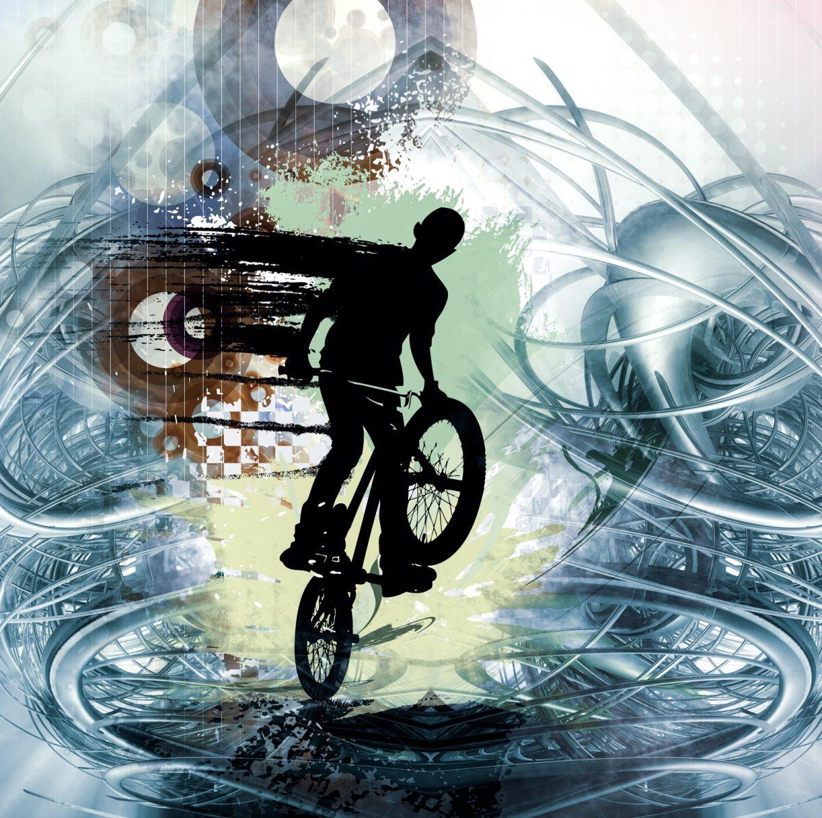 Kid doing a bike stunt against futuristic background